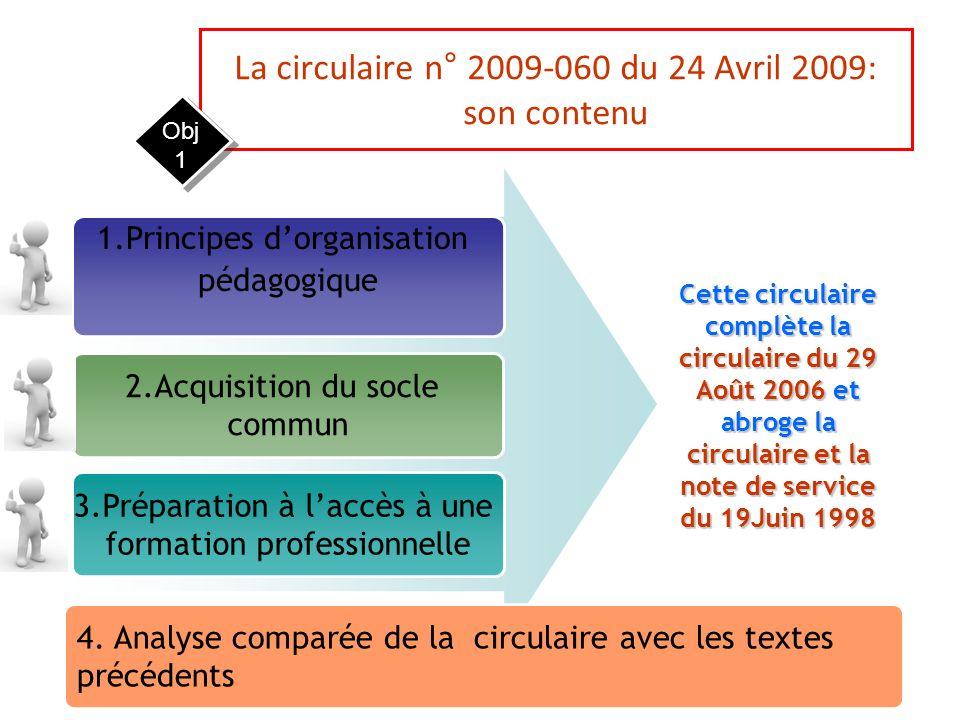 La circulaire n° 2009-060 du 24 Avril 2009: son contenu 1.Principes dorganisation pédagogique 2.Acquisition du socle commun 3.Préparation à laccès à u