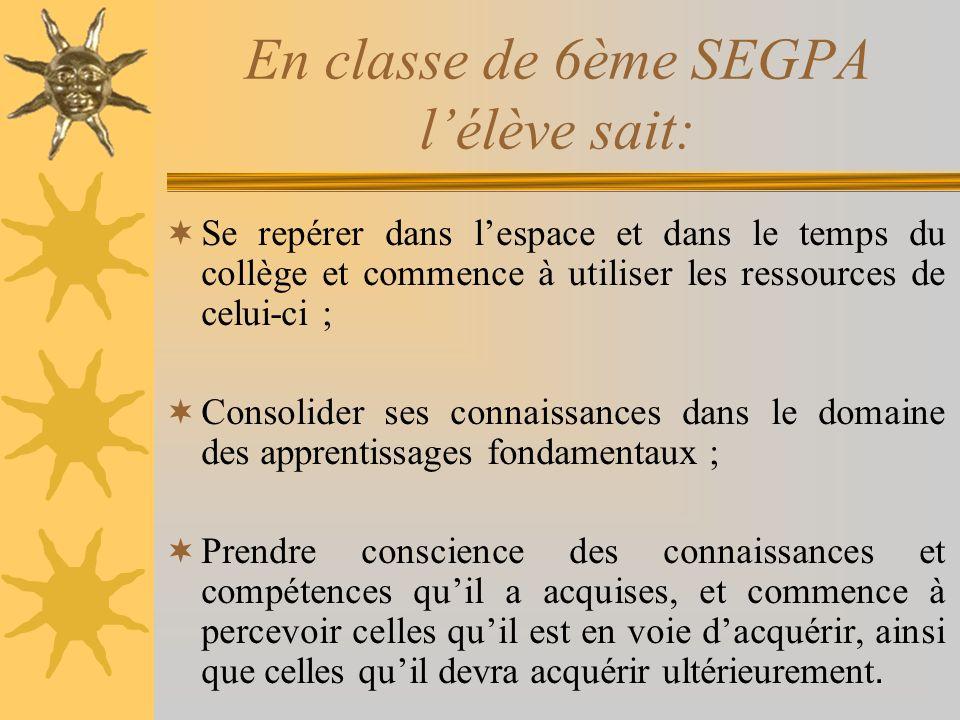 En classe de 6ème SEGPA lélève sait: Se repérer dans lespace et dans le temps du collège et commence à utiliser les ressources de celui-ci ; Consolide