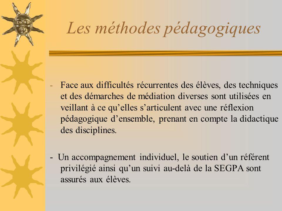 Les méthodes pédagogiques - Face aux difficultés récurrentes des élèves, des techniques et des démarches de médiation diverses sont utilisées en veill