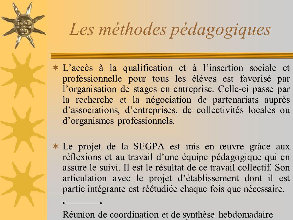 Les méthodes pédagogiques Laccès à la qualification et à linsertion sociale et professionnelle pour tous les élèves est favorisé par lorganisation de