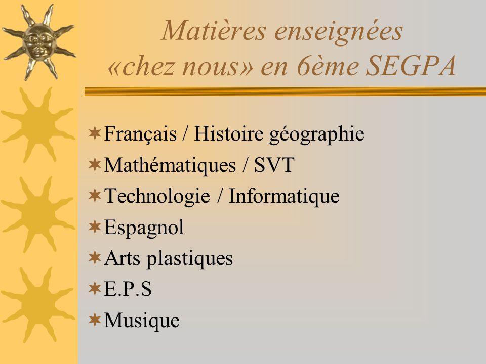 Matières enseignées «chez nous» en 6ème SEGPA Français / Histoire géographie Mathématiques / SVT Technologie / Informatique Espagnol Arts plastiques E