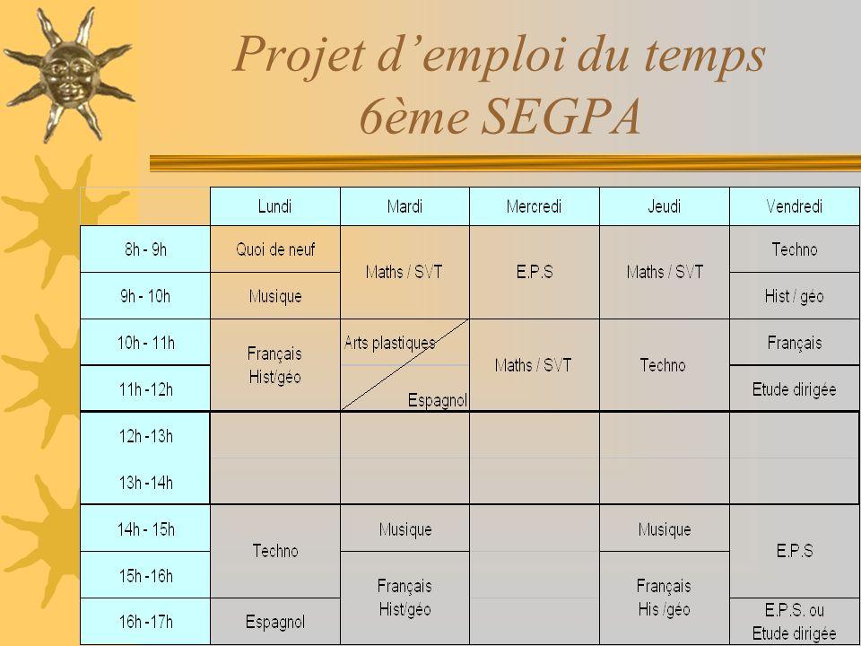 Projet demploi du temps 6ème SEGPA