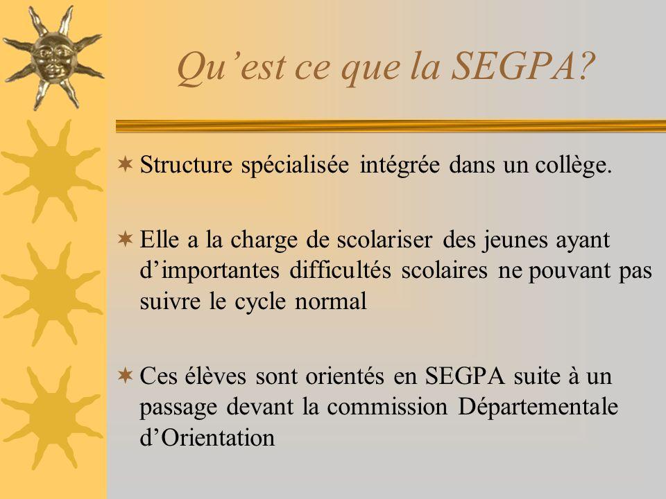 Quest ce que la SEGPA? Structure spécialisée intégrée dans un collège. Elle a la charge de scolariser des jeunes ayant dimportantes difficultés scolai