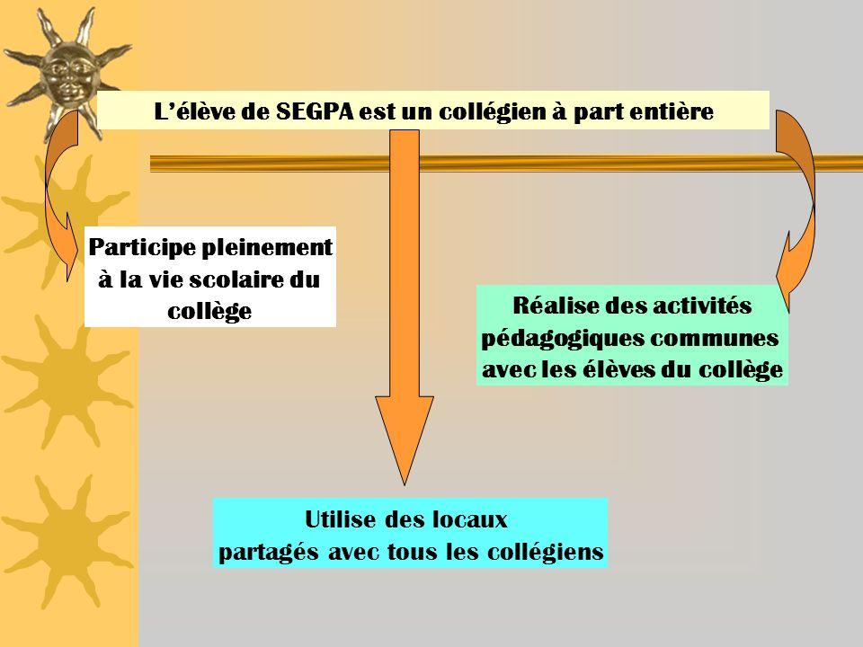 Lélève de SEGPA est un collégien à part entière Participe pleinement à la vie scolaire du collège Utilise des locaux partagés avec tous les collégiens