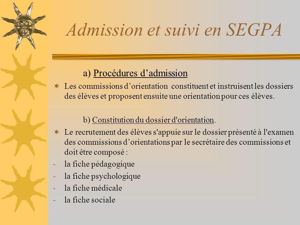 Admission et suivi en SEGPA a) Procédures dadmission Les commissions dorientation constituent et instruisent les dossiers des élèves et proposent ensu