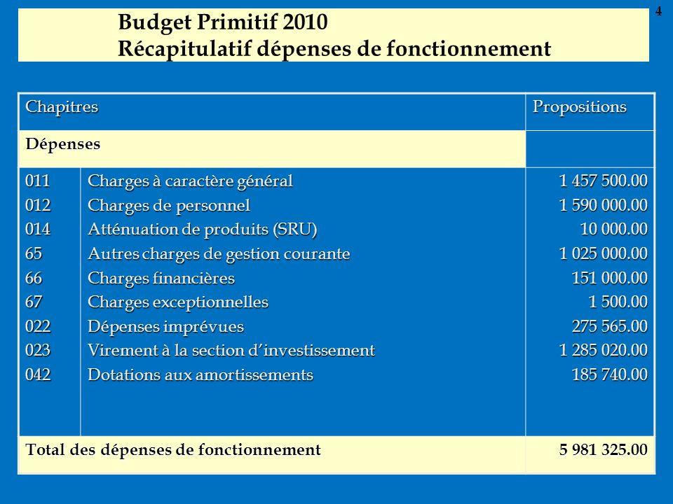 Budget Primitif 2010 Récapitulatif dépenses de fonctionnement ChapitresPropositions Dépenses 011012014656667022023042 Charges à caractère général Char