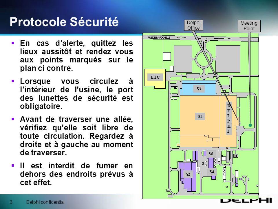 Delphi confidential3 Protocole Sécurité En cas dalerte, quittez les lieux aussitôt et rendez vous aux points marqués sur le plan ci contre.