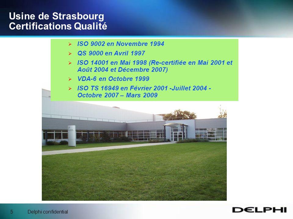 Delphi confidential15 Usine de Strasbourg Résumé 1992-2007 : 15 ans de direction assistée hydraulique pour notre usine A Strasbourg, nous produisons des pompes hydrauliques de direction assistée destinées aux plus grands constructeurs automobiles européens et mondiaux.