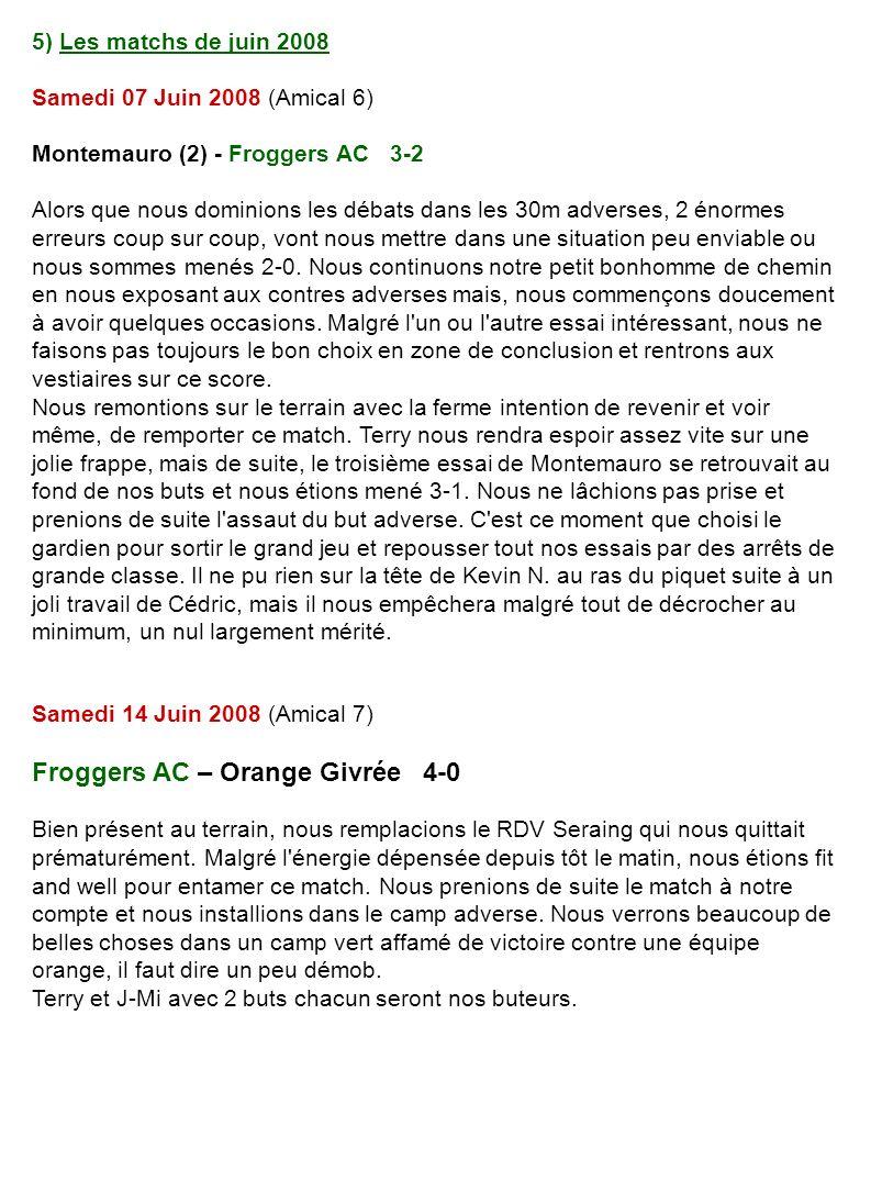 5) Les matchs de juin 2008 Samedi 07 Juin 2008 (Amical 6) Montemauro (2) - Froggers AC 3-2 Alors que nous dominions les débats dans les 30m adverses, 2 énormes erreurs coup sur coup, vont nous mettre dans une situation peu enviable ou nous sommes menés 2-0.
