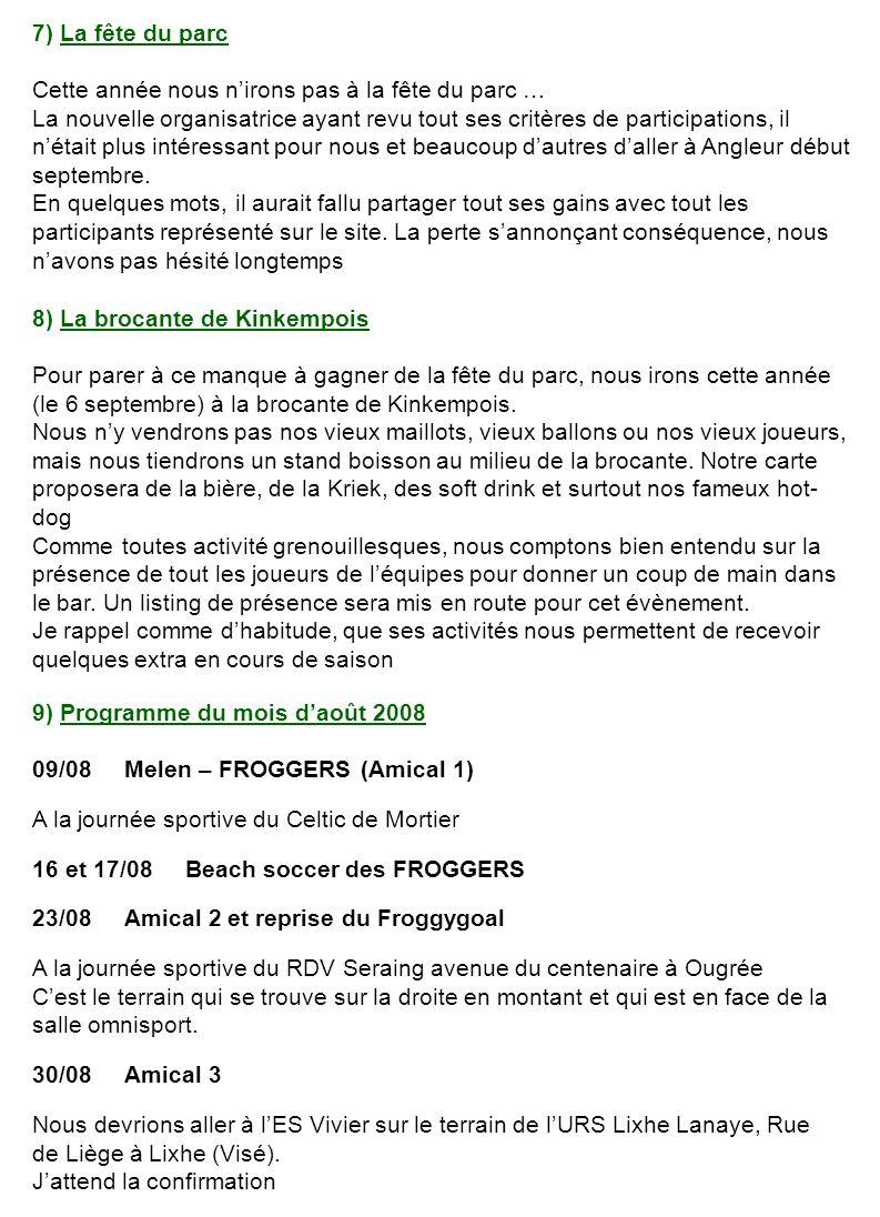 10) Programme de septembre 2008 06/09 Brocante de Kinkempois 13/09 FROGGERS - EF Stoumont 20/09 ES Vivier - FROGGERS LES Vivier joue sur le terrain de lURS Lixhe Lanaye, Rue de Liège à Lixhe (Visé).
