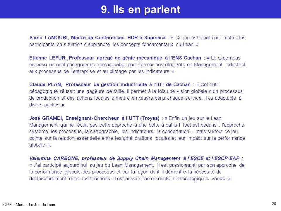 CIPE - Muda - Le Jeu du Lean 26 9.