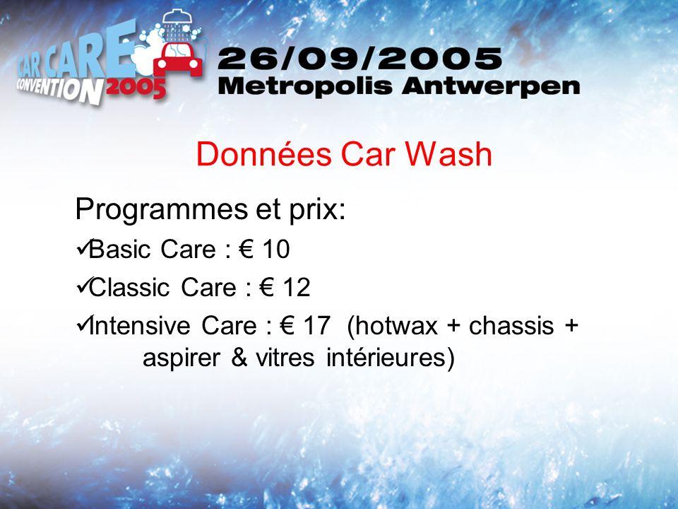 Données Car Wash Programmes et prix: Basic Care : 10 Classic Care : 12 Intensive Care : 17 (hotwax + chassis + aspirer & vitres intérieures)