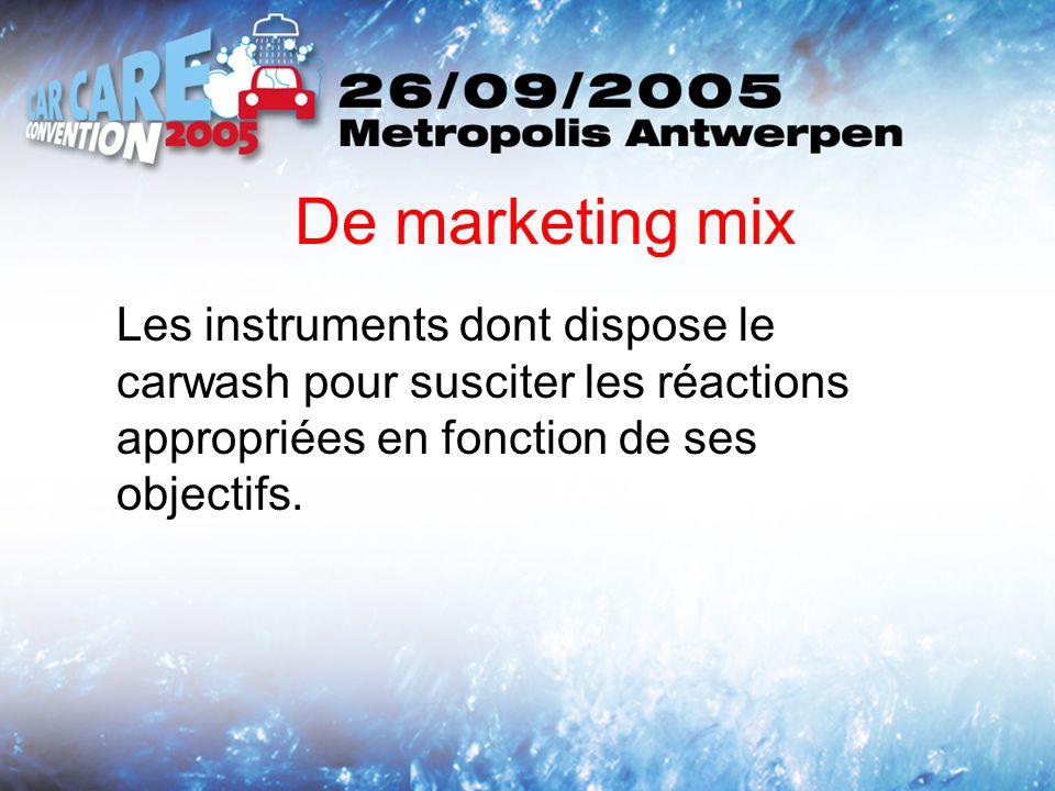 De marketing mix Les instruments dont dispose le carwash pour susciter les réactions appropriées en fonction de ses objectifs.