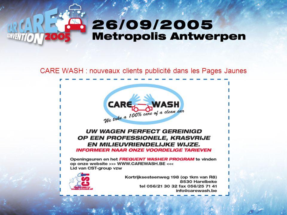 CARE WASH : nouveaux clients publicité dans les Pages Jaunes