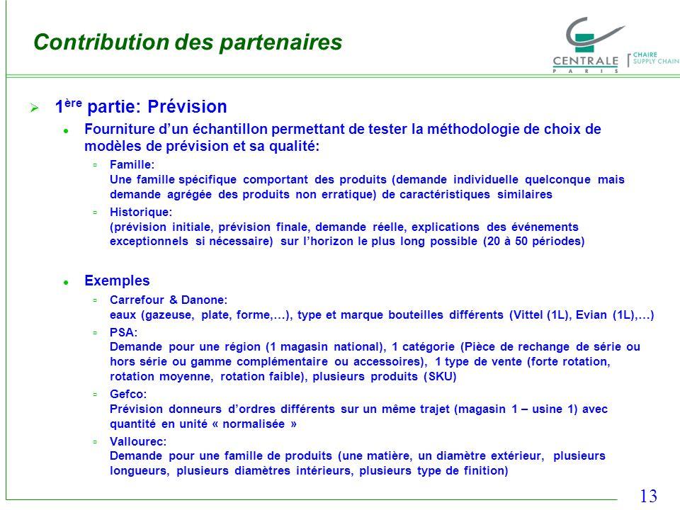 13 Contribution des partenaires 1 ère partie: Prévision Fourniture dun échantillon permettant de tester la méthodologie de choix de modèles de prévisi