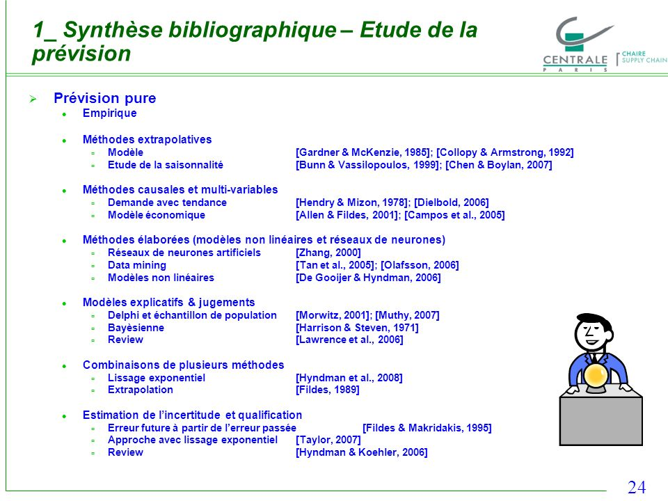 24 1_ Synthèse bibliographique – Etude de la prévision Prévision pure Empirique Méthodes extrapolatives Modèle[Gardner & McKenzie, 1985]; [Collopy & A
