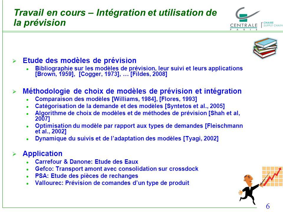 6 Travail en cours – Intégration et utilisation de la prévision Etude des modèles de prévision Bibliographie sur les modèles de prévision, leur suivi
