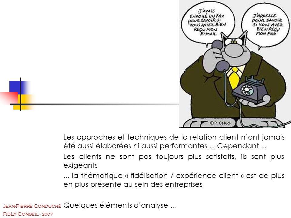 FidLy Conseil - 2007 Jean-Pierre Conduché Les approches et techniques de la relation client nont jamais été aussi élaborées ni aussi performantes...