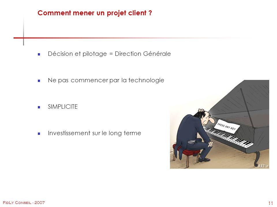 11 FidLy Conseil - 2007 Comment mener un projet client .