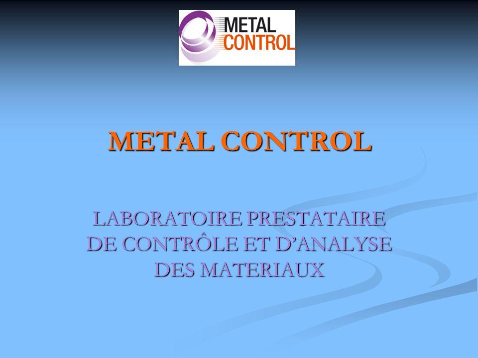 ANALYSES CHIMIQUES Spectrométrie démission optique Carbone-soufre par combustion METAL CONTROL