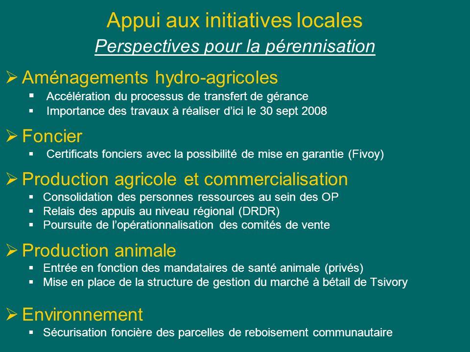 Appui aux initiatives locales Perspectives pour la pérennisation Aménagements hydro-agricoles Accélération du processus de transfert de gérance Import