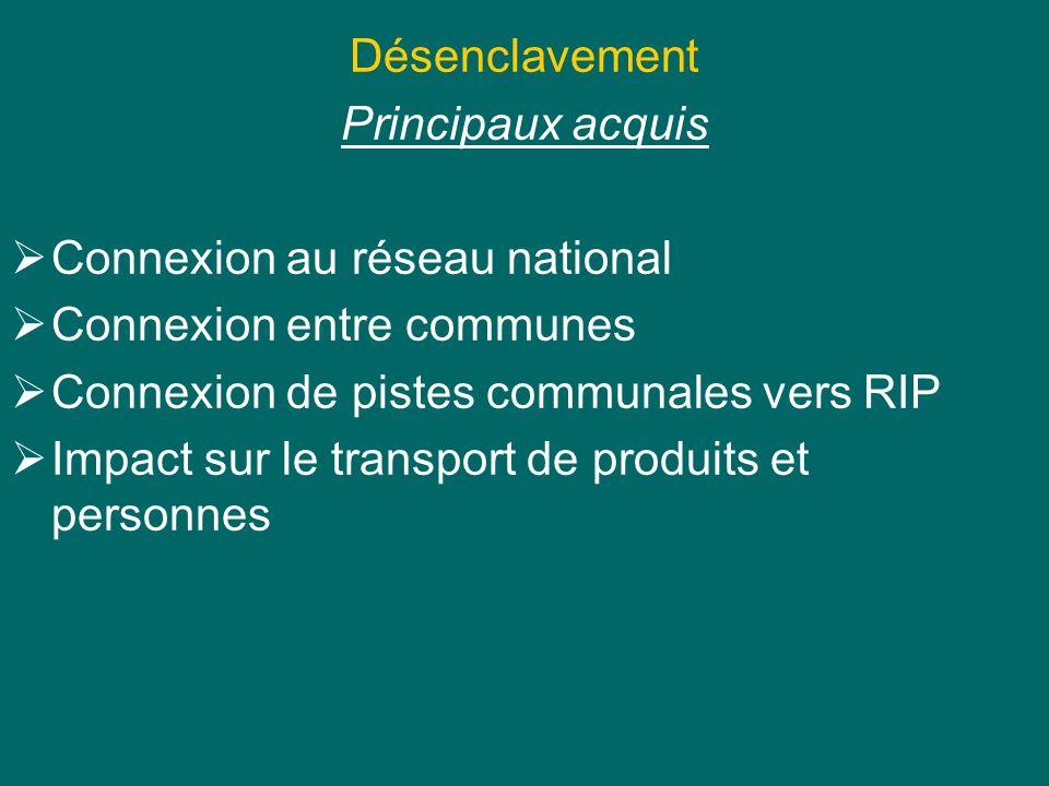 Désenclavement Principaux acquis Connexion au réseau national Connexion entre communes Connexion de pistes communales vers RIP Impact sur le transport