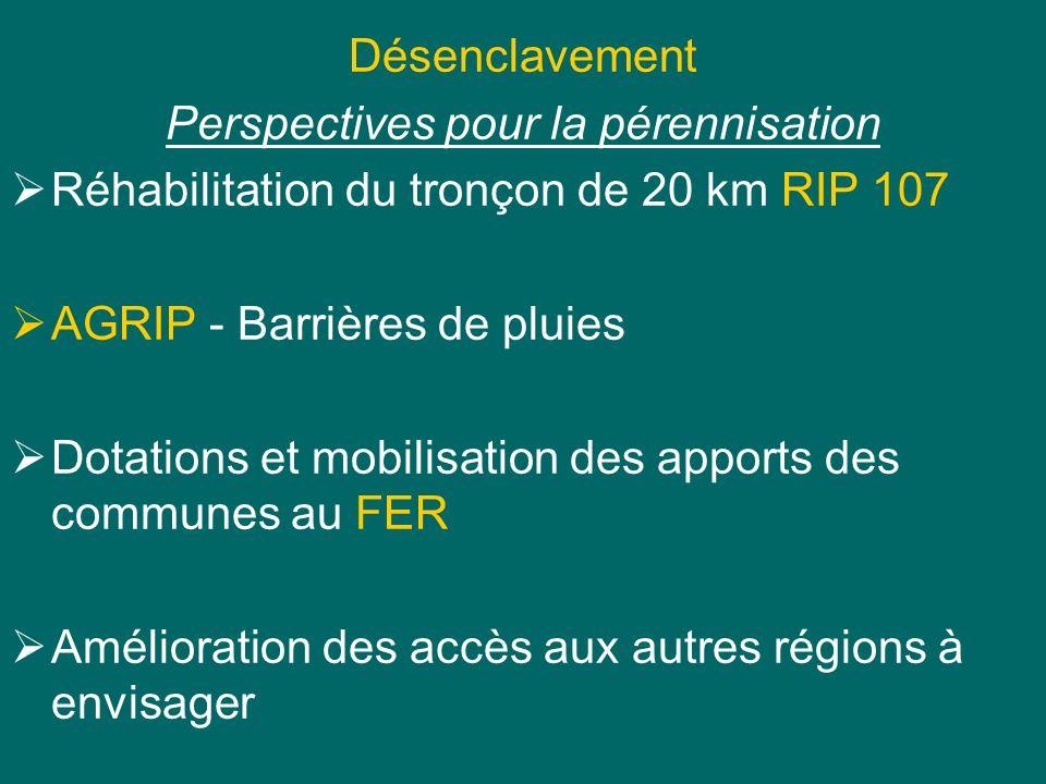 Désenclavement Perspectives pour la pérennisation Réhabilitation du tronçon de 20 km RIP 107 AGRIP - Barrières de pluies Dotations et mobilisation des apports des communes au FER Amélioration des accès aux autres régions à envisager