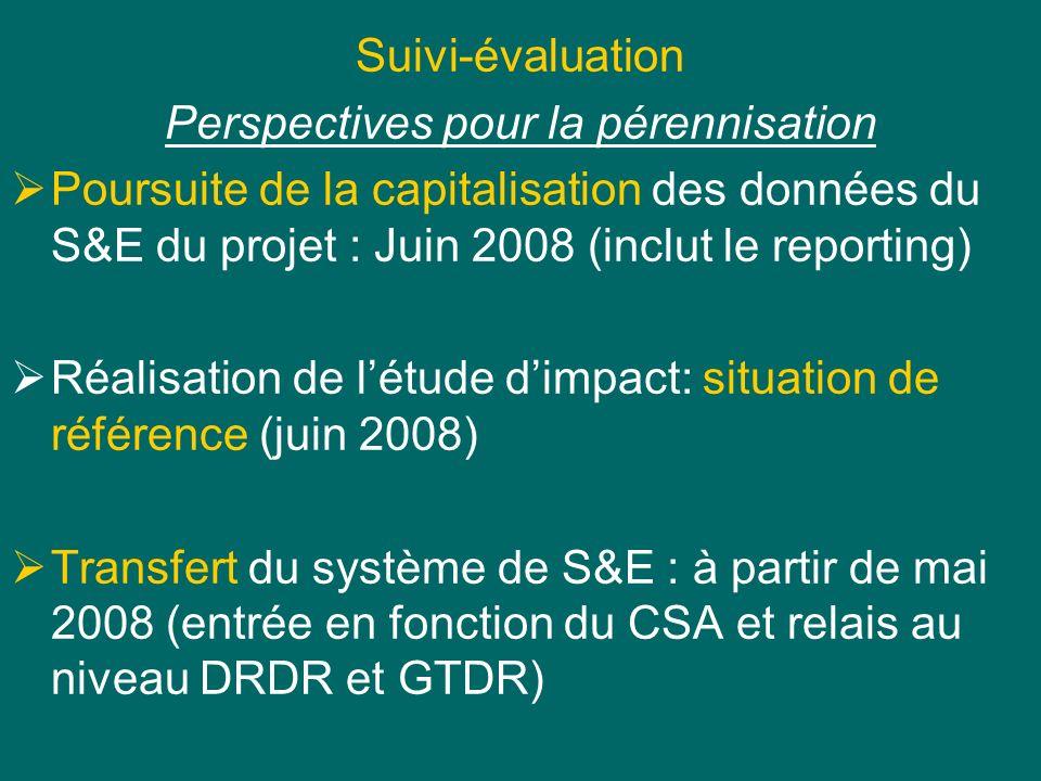 Suivi-évaluation Perspectives pour la pérennisation Poursuite de la capitalisation des données du S&E du projet : Juin 2008 (inclut le reporting) Réalisation de létude dimpact: situation de référence (juin 2008) Transfert du système de S&E : à partir de mai 2008 (entrée en fonction du CSA et relais au niveau DRDR et GTDR)