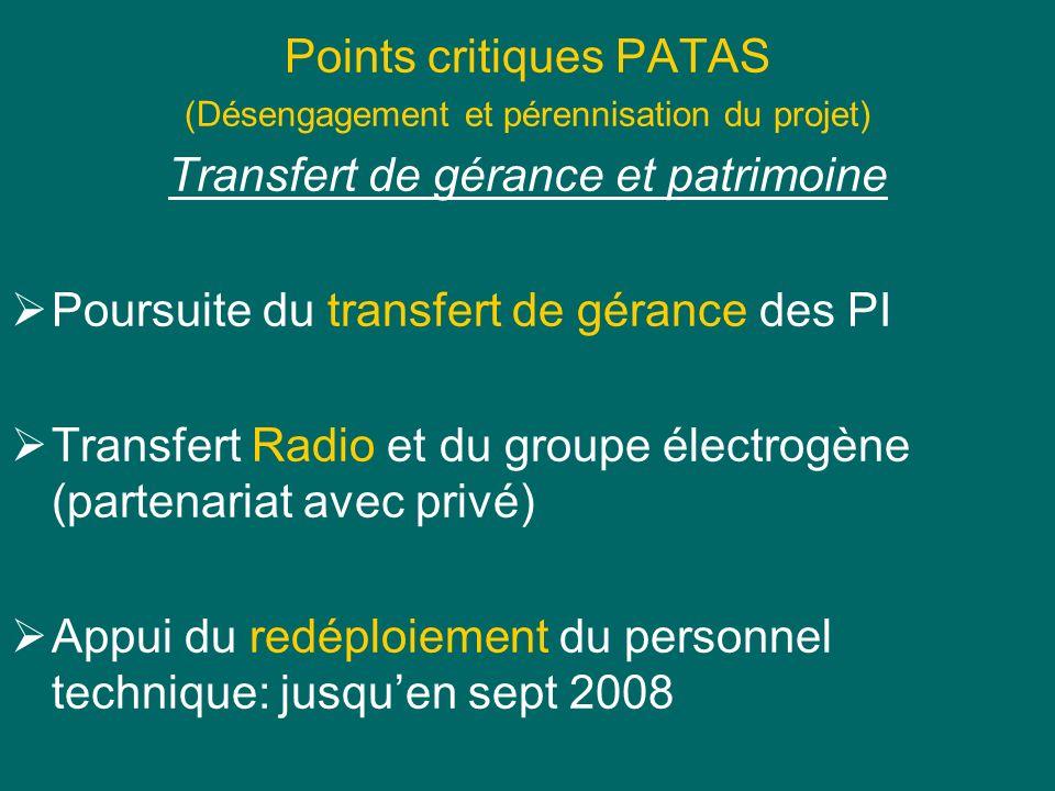 Points critiques PATAS (Désengagement et pérennisation du projet) Transfert de gérance et patrimoine Poursuite du transfert de gérance des PI Transfer
