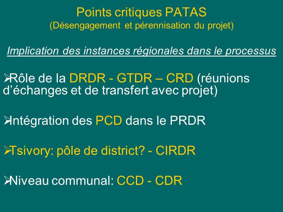 Points critiques PATAS (Désengagement et pérennisation du projet) Implication des instances régionales dans le processus Rôle de la DRDR - GTDR – CRD