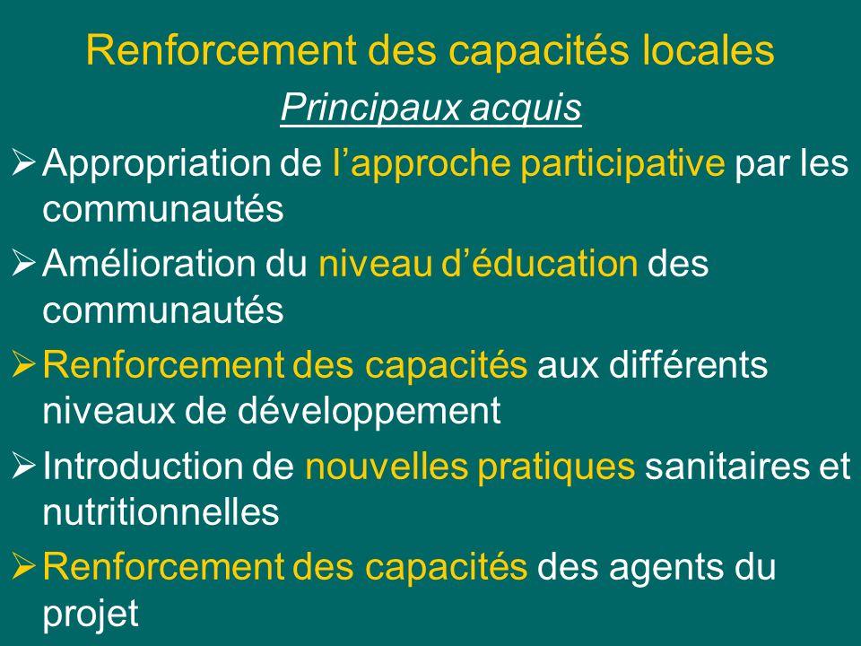 Renforcement des capacités locales Principaux acquis Appropriation de lapproche participative par les communautés Amélioration du niveau déducation de