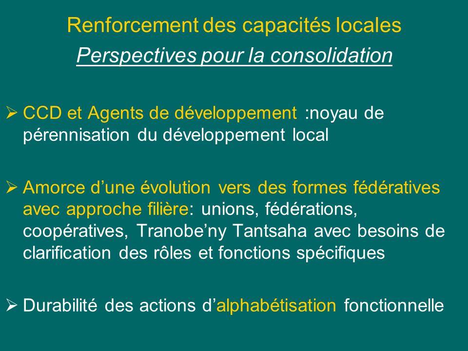 Renforcement des capacités locales Perspectives pour la consolidation CCD et Agents de développement :noyau de pérennisation du développement local Am