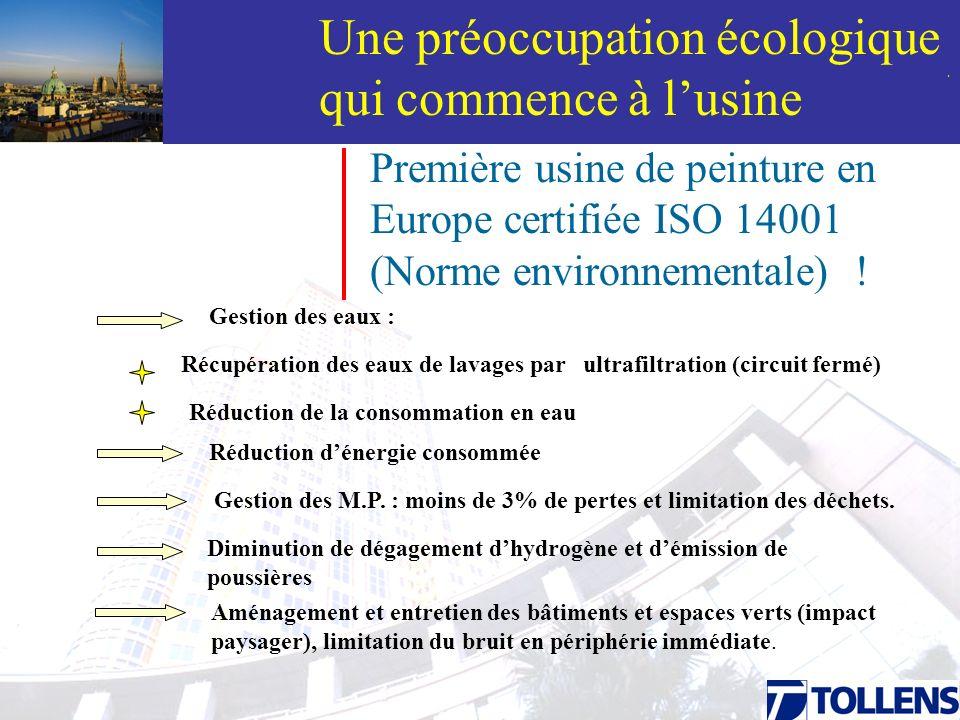 . Une préoccupation écologique qui commence à lusine Première usine de peinture en Europe certifiée ISO 14001 (Norme environnementale) ! Gestion des e