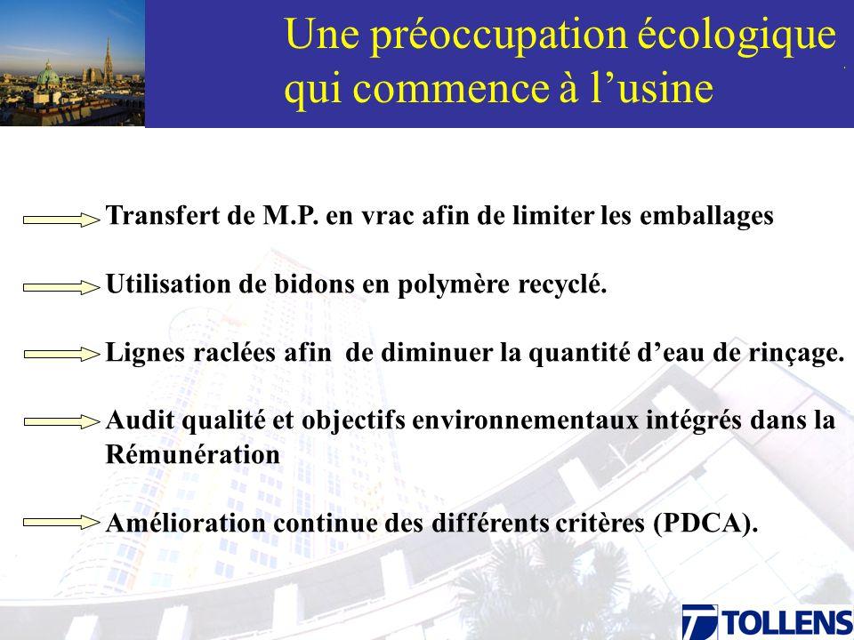 . Une préoccupation écologique qui commence à lusine Transfert de M.P. en vrac afin de limiter les emballages Utilisation de bidons en polymère recycl