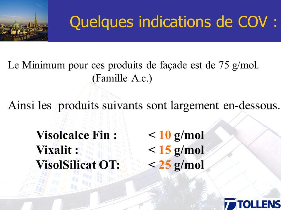Quelques indications de COV : Le Minimum pour ces produits de façade est de 75 g/mol. (Famille A.c.) Ainsi les produits suivants sont largement en-des