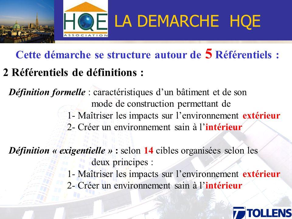 LA DEMARCHE HQE Cette démarche se structure autour de 5 Référentiels : 2 Référentiels de définitions + 3 Référentiels Opérationnels DEQE ( Définition Explicite de la Qualité environnementale) : exigentiels réalisés par les Maîtres dOuvrage qui vont lister, puis prioritariser les objectifs et les cibles selon le bâti.