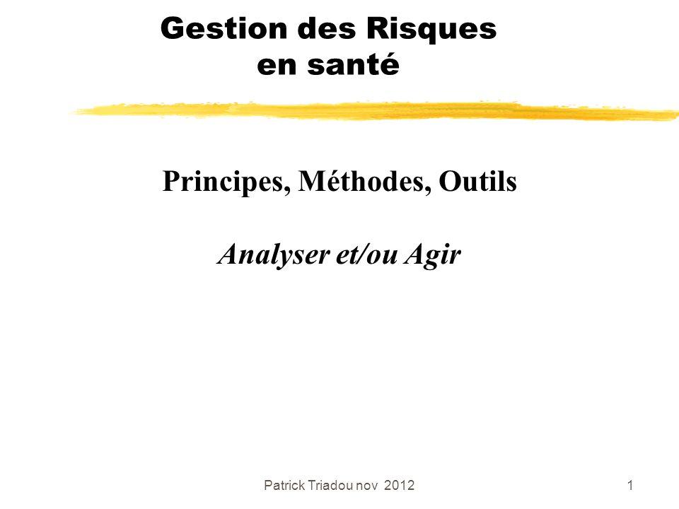 Patrick Triadou nov 20121 Gestion des Risques en santé Principes, Méthodes, Outils Analyser et/ou Agir