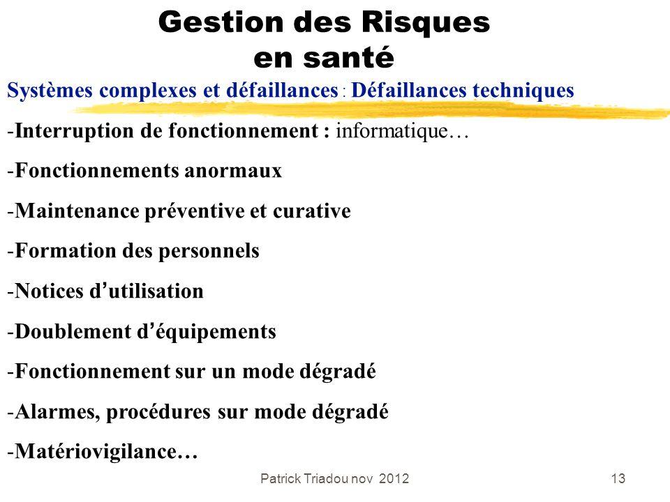 Patrick Triadou nov 201213 Gestion des Risques en santé Systèmes complexes et défaillances : Défaillances techniques -Interruption de fonctionnement :