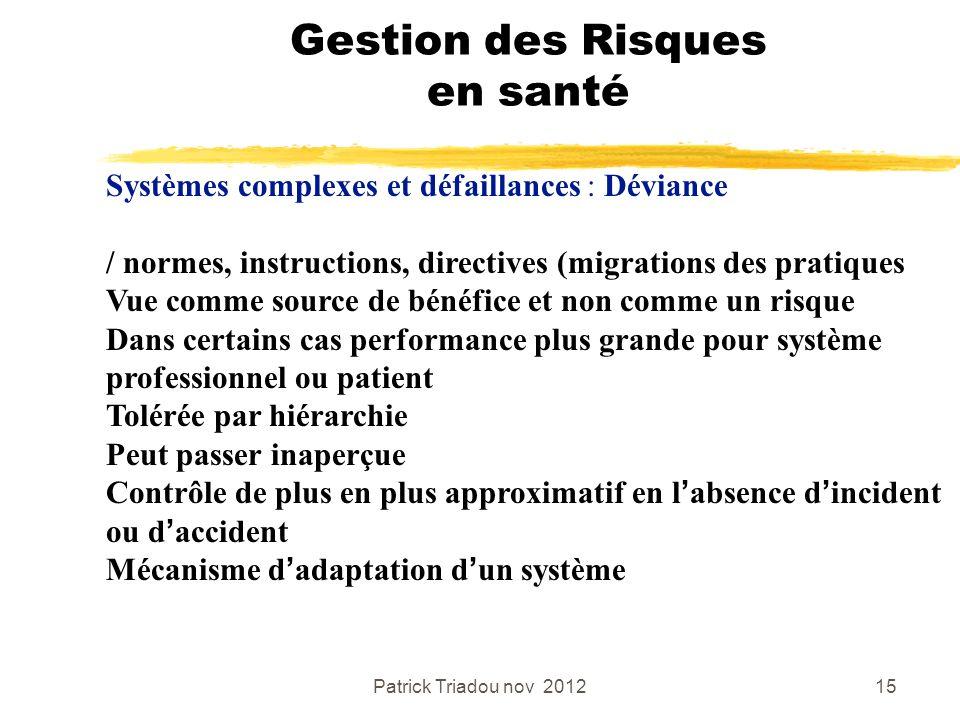 Patrick Triadou nov 201215 Gestion des Risques en santé Systèmes complexes et défaillances : Déviance / normes, instructions, directives (migrations d
