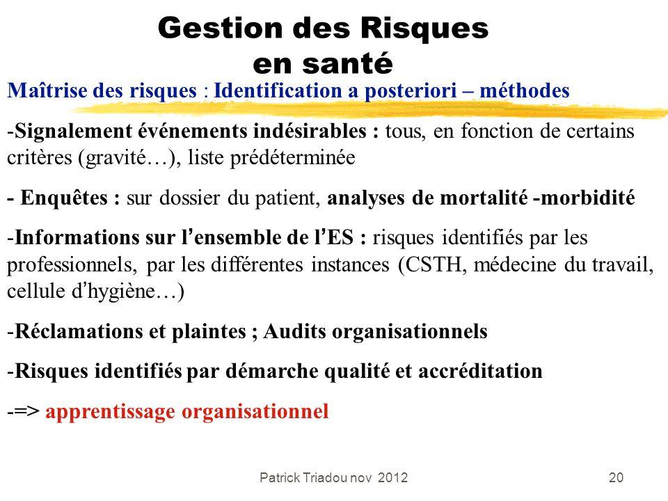 Patrick Triadou nov 201220 Gestion des Risques en santé Maîtrise des risques : Identification a posteriori – méthodes -Signalement événements indésira