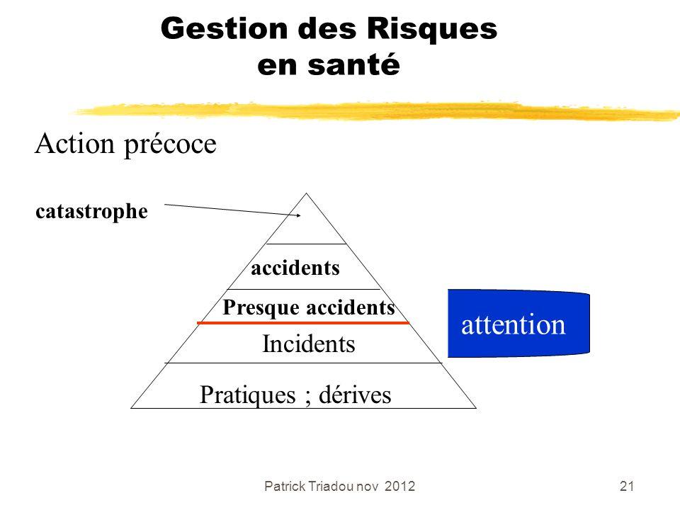 Patrick Triadou nov 201221 Gestion des Risques en santé Action précoce Pratiques ; dérives Incidents Presque accidents accidents catastrophe attention