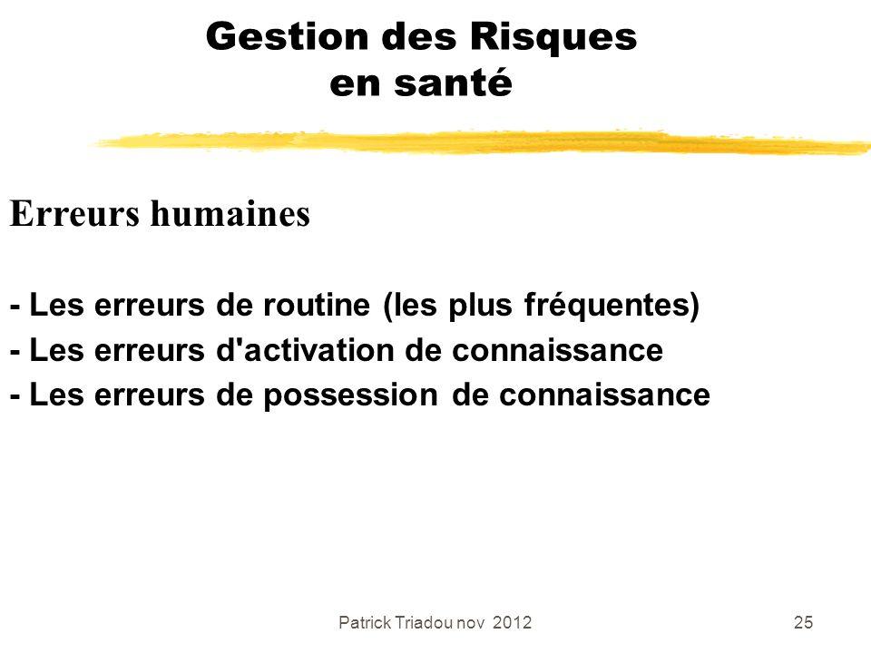 Patrick Triadou nov 201225 Gestion des Risques en santé Erreurs humaines - Les erreurs de routine (les plus fréquentes) - Les erreurs d'activation de