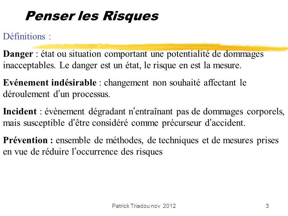 Patrick Triadou nov 20123 Penser les Risques Définitions : Danger : état ou situation comportant une potentialité de dommages inacceptables. Le danger