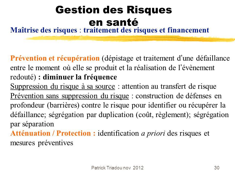 Patrick Triadou nov 201230 Gestion des Risques en santé Maîtrise des risques : traitement des risques et financement Prévention et récupération (dépis