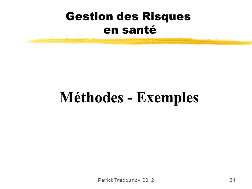 Patrick Triadou nov 201234 Méthodes - Exemples Gestion des Risques en santé