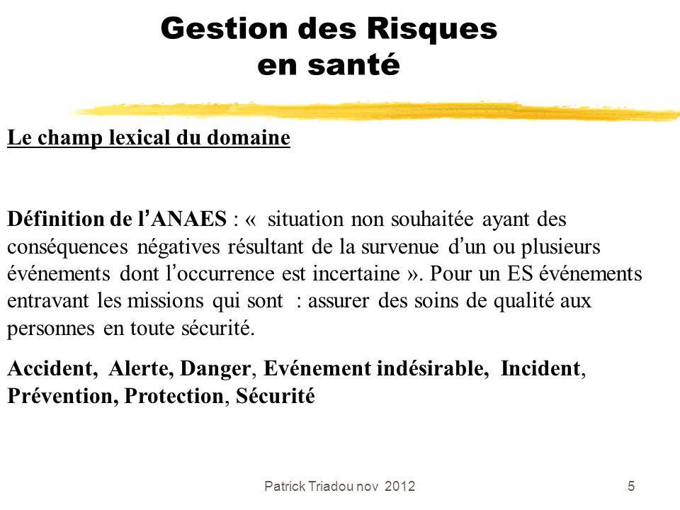 Patrick Triadou nov 20125 Gestion des Risques en santé Le champ lexical du domaine Définition de lANAES : « situation non souhaitée ayant des conséque