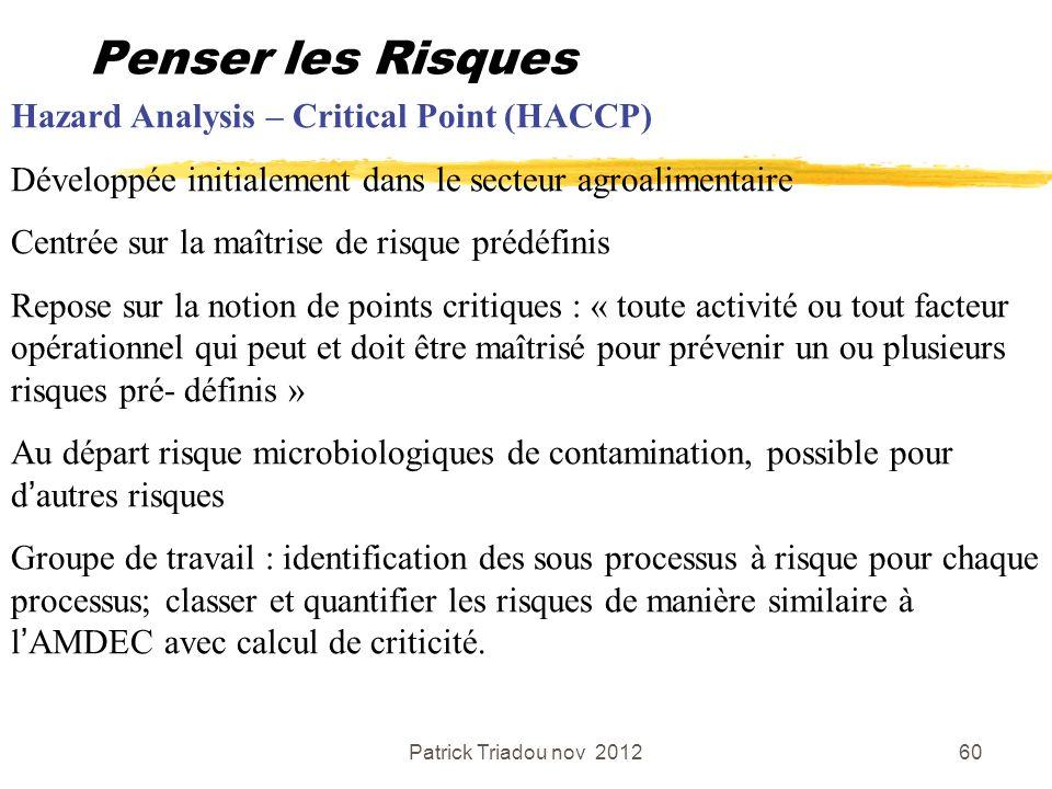Patrick Triadou nov 201260 Penser les Risques Hazard Analysis – Critical Point (HACCP) Développée initialement dans le secteur agroalimentaire Centrée