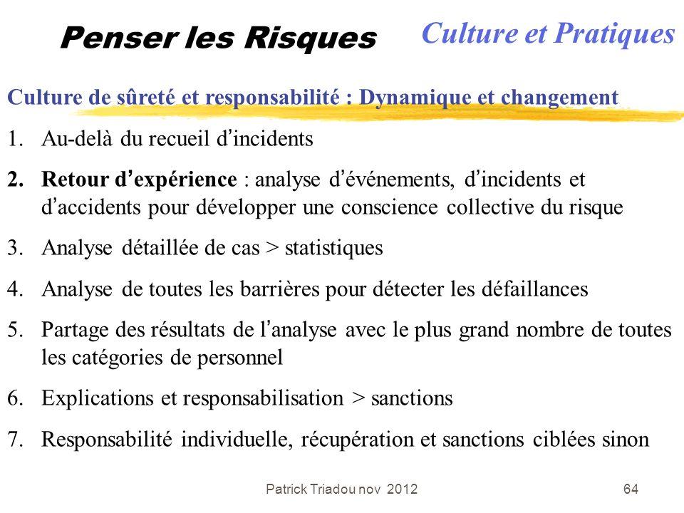 Patrick Triadou nov 201264 Penser les Risques Culture de sûreté et responsabilité : Dynamique et changement 1.Au-delà du recueil dincidents 2.Retour d