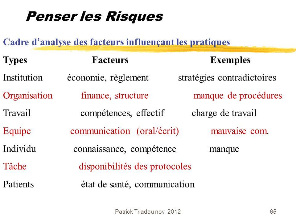 Patrick Triadou nov 201265 Penser les Risques Cadre danalyse des facteurs influençant les pratiques Types FacteursExemples Institution économie, règle