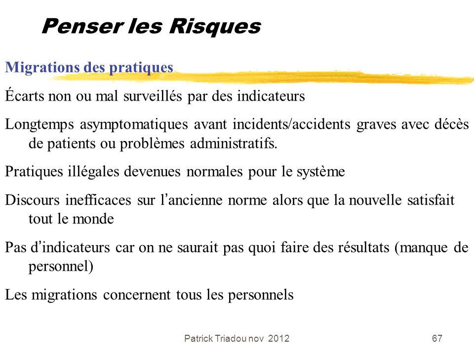 Patrick Triadou nov 201267 Penser les Risques Migrations des pratiques Écarts non ou mal surveillés par des indicateurs Longtemps asymptomatiques avan
